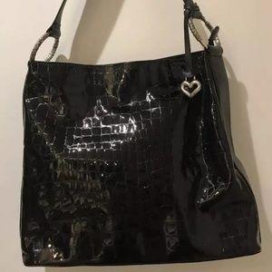 Brighton Black Patent Leather Croc Print Handbag
